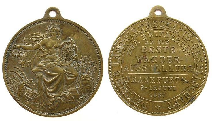 Frankfurt Messing Erste Wanderausstellung der Deutschen Landwirtschaftsgesellschaft, Frankfurt, belorbeerte weibliche Gestalt mit der Maue tragbare Medaille 1887 vz