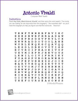Worksheet Music Appreciation Worksheets 1000 images about music vivaldi four seasons on pinterest antonio free printable composer word search worksheet creative resources for elementary education