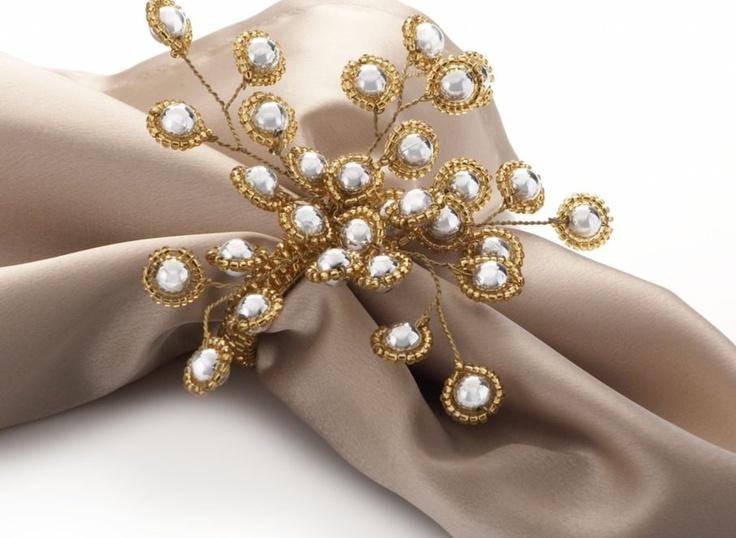 Gold Beaded Napkin Rings