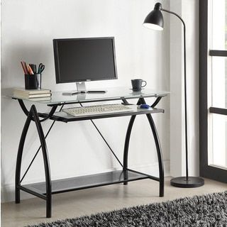 Shop for Black Metal Glass Top Desk with Keyboard Tray. Get free shipping at Overstock.com - Your Online Furniture Outlet Store! Get 5% in rewards with Club O!