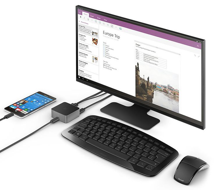 Windows 10 Mobile搭載スマートフォン「Lumia 950」「Lumia 950 XL」のUSB Type-Cを純正アクセサリの「Microsoft Display Dock」と接続することで、このドックを介して外部ディスプレイやキーボード/マウスが接続でき、Continuum for Phones機能によるデスクトップPC的な使い方が可能になる