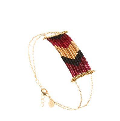 Bracelet Folk Caroline Najman Plaqué Or Rouge/Bordeaux prix promo Bracelet Monshowroom 98,00 €