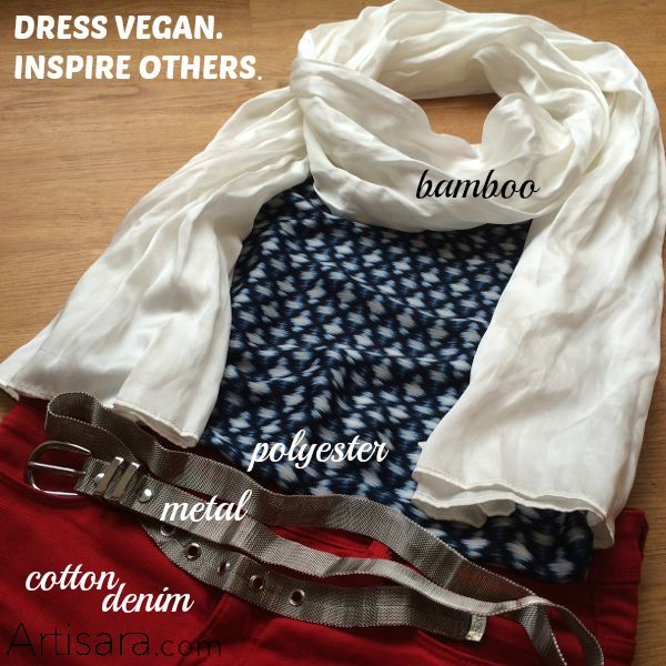 Dress vegan and inspire others. Casual outfit with Pureness bamboo scarf.