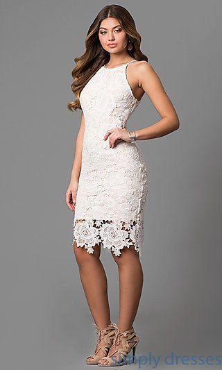 Shop floral-lace short graduation party dresses at Simply Dresses. Off-white  semi-formal dresses under  100 with high necklines and thin straps. c5dbea011