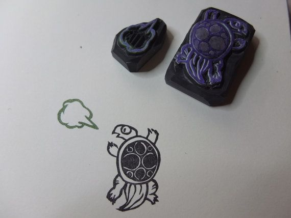 Cute turtle and word bubble stamp set by HandCarvedStamps on Etsy