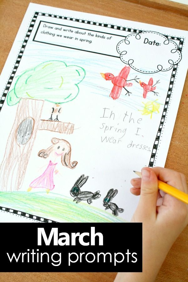 Get kids writing with writing prompt ideas that are perfect for preschool and kindergarten. For the March writing journal prompts for kids we've included prompts about Rocks Worms and Mud, St. Patrick's Day, Spring, Seeds, and some general topics. #writingprompts #journal #preschool #kindergarten