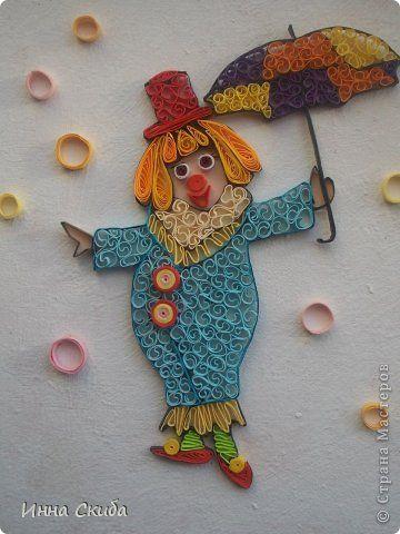 Картина панно рисунок Квиллинг Клоунесса  Бумажные полосы фото 1