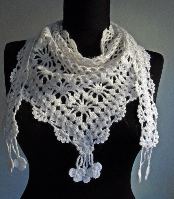 crochet .... I like that this is worn 'backwards'...more like a dressy scarf. :)