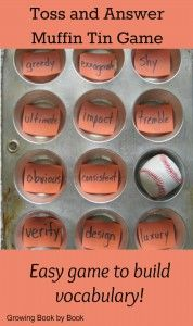 Easy to make game for developing vocabulary. Would be great for social studies and science terms.  Several other good muffin tin games at this post, too!