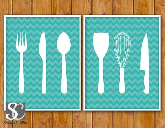 Kitchen Wall Art Duo / Kitchen Utensils Cutlery Silhouette Set of Two / Printable Kitchen Wall Art Decor / Teal Turquoise Kitchen Art 8x10 on Etsy, $10.00