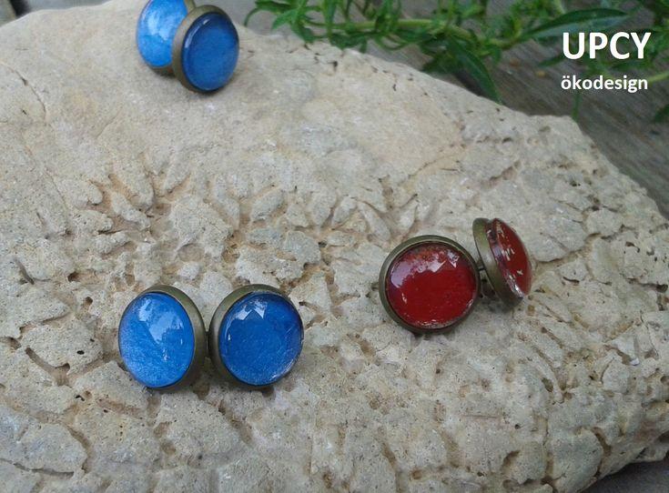 Üveglencse fülbevaó, bőr továbbhasznosítás - Upcycled leather glass dome earring