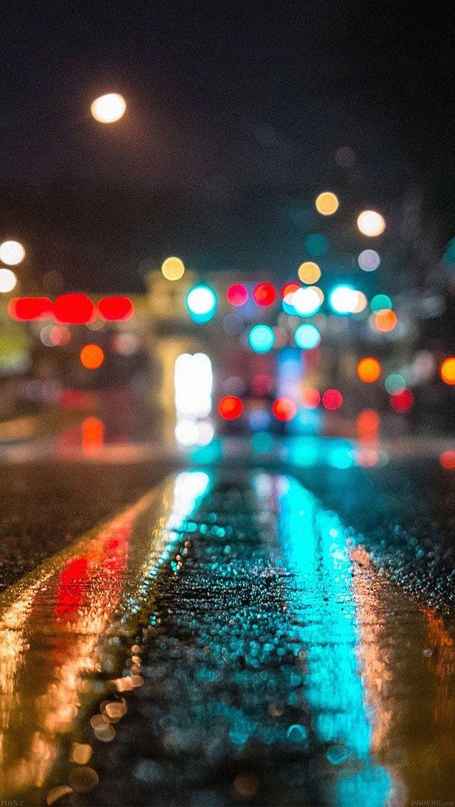Rainy City Asphalt Bokeh Lights Background Android Iphone