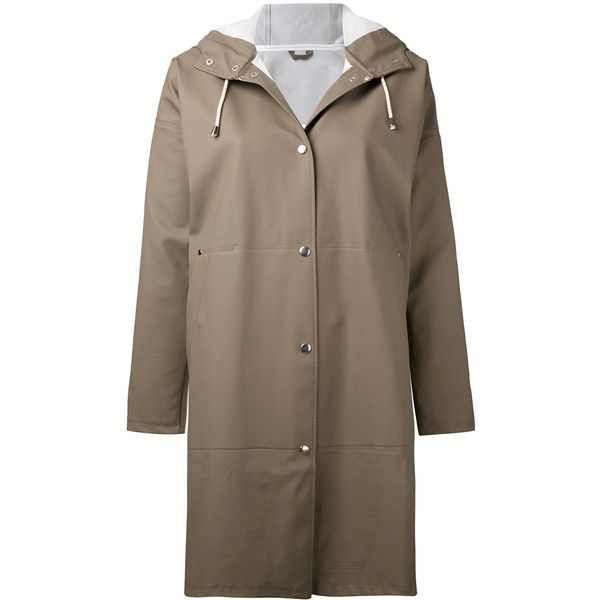 Stutterheim Solna raincoat ($350) ❤ liked on Polyvore featuring outerwear, coats, brown, pvc coat, pvc raincoat, stutterheim raincoat, mac coat and rain coat