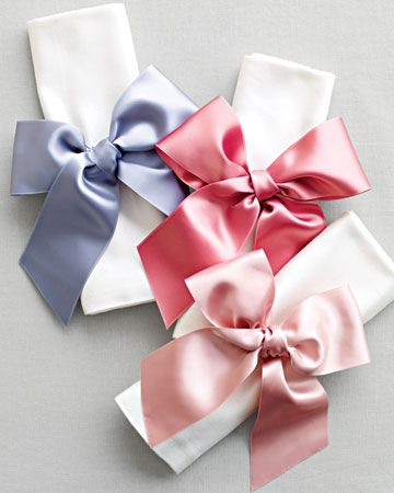 Satin bow napkin rings