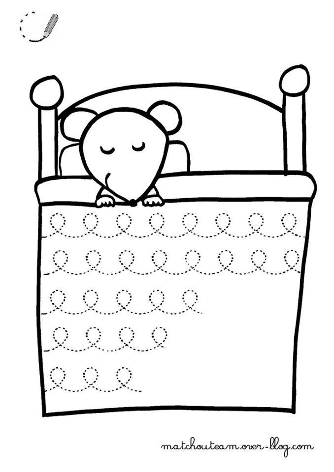 Schrijven: muis ziek in bed (krullen)