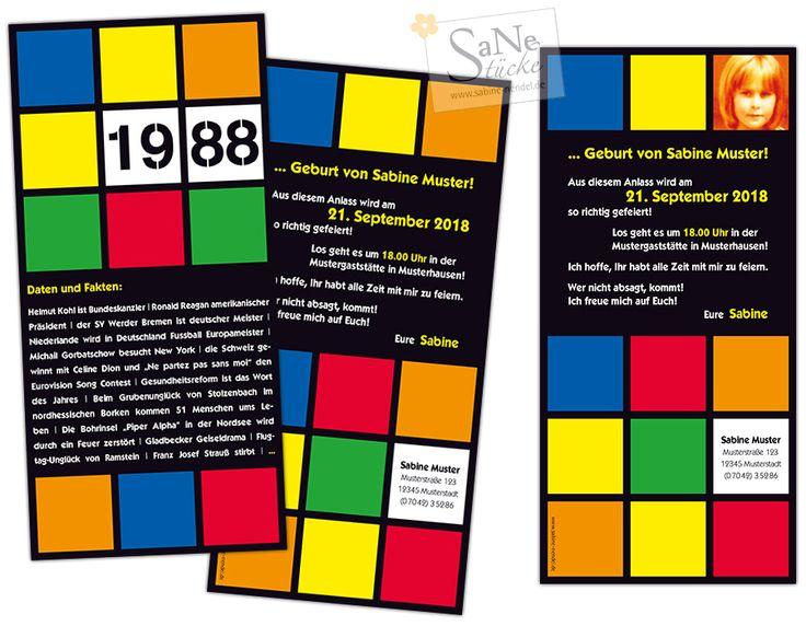 Einladungskarte Zum Geburtstag Im Retro Stil Der 80er, Für Alle Die 1988  Geboren Sind