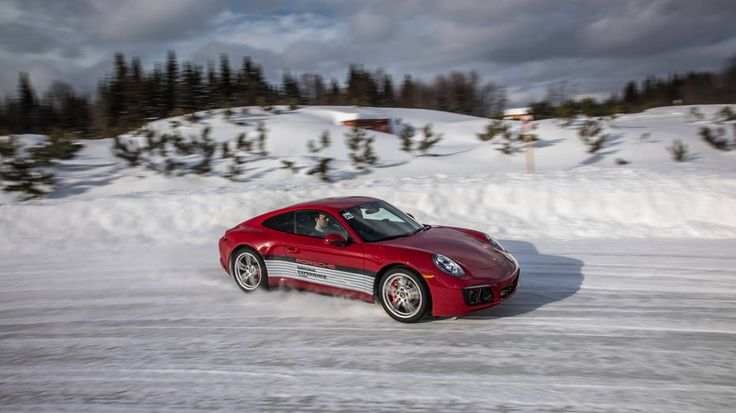 Porsches on ice Throwing 911s and Caymans sideways in the snow at Camp4 Canada.