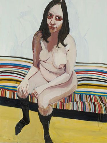 Chantal Joffe, Self-Portrait Sitting on a Striped Chaise Lounge, 2012. Oil on board,  72-1/8 x 47-7/8 inches.  Courtesy of Cheim & Read