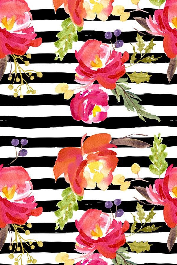 Barcelona Nights Stripes by shopcabin.  Bold bright flowers on a black and white background available on fabric, wallpaper, and gift wrap.