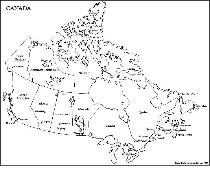 Map of Canada with provinces/territories and their
