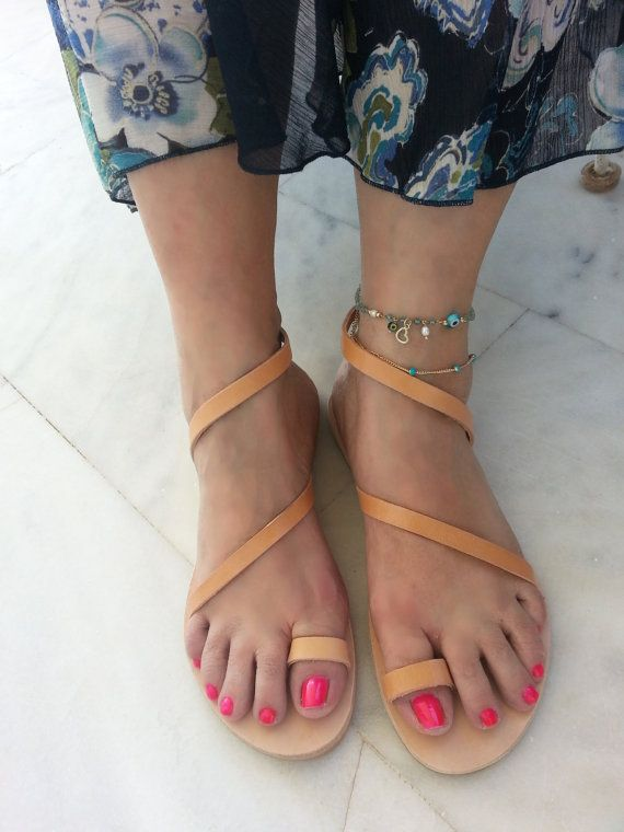 Leather Sandals with Straps. Greek Sandals  by LeatherStrata
