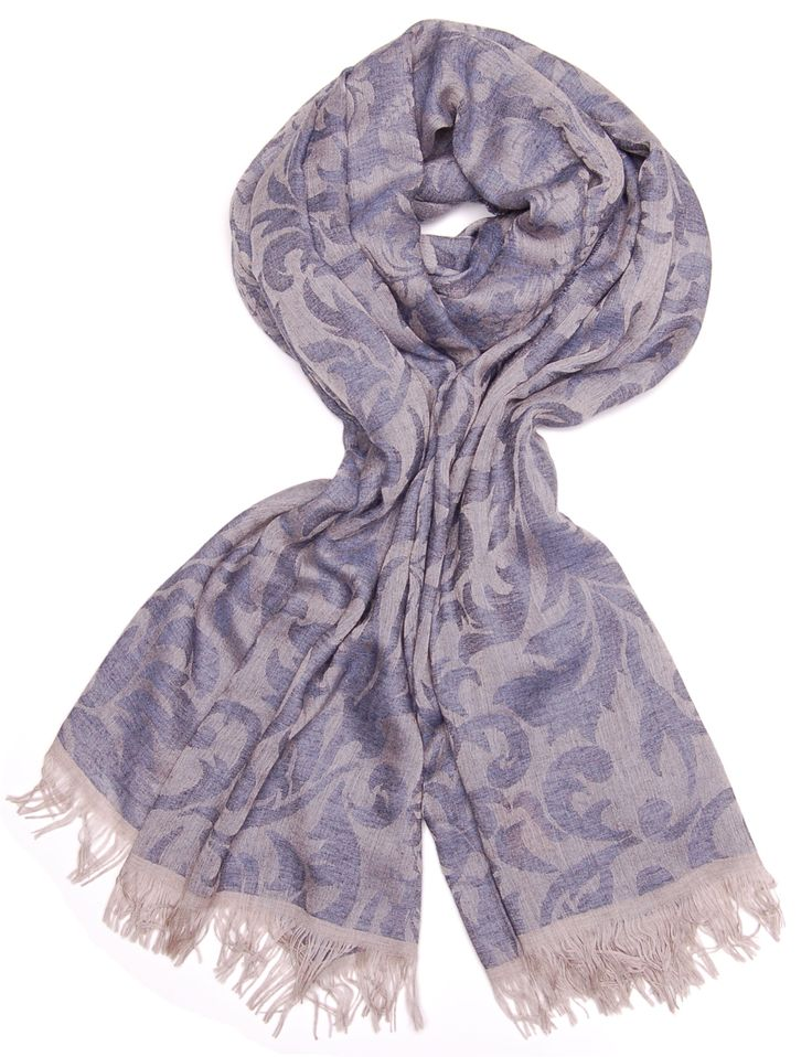 blue and grey woven arabesque floral modal and wool scarf