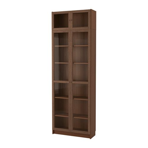 IKEA - BILLY / OXBERG, Bookcase, brown ash veneer, , Adjustable shelves can be arranged according to your needs.Adjustable hinges allow you to adjust the door horizontally and vertically.Glass-door cabinet keeps your favorite items free from dust but still visible.
