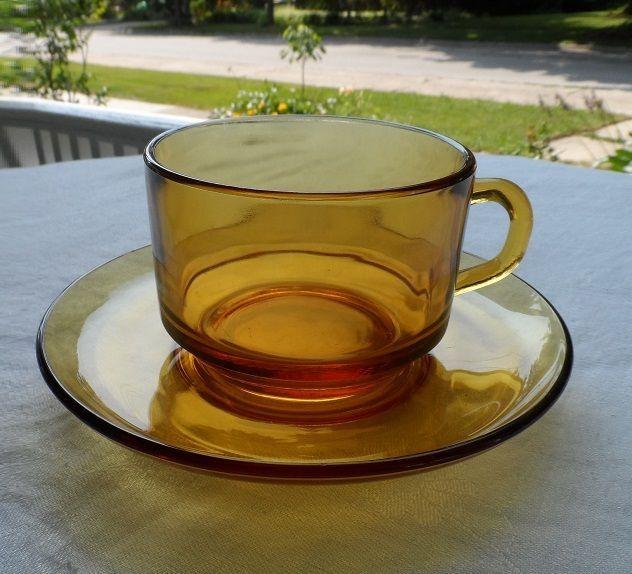 FOUR Vintage CUPS & SAUCERS  VERECO made in FRANCE Amber plus bonus