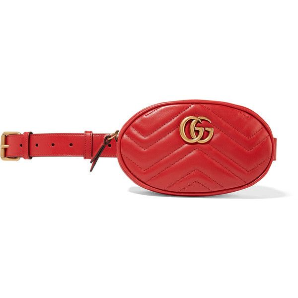 18fbb8d85392 Gucci GG Marmont quilted leather belt bag ($1,015) ❤ liked on Polyvore  featuring bags, red, zipper bag, zip bag, waist fanny pack, waist bag and  leather ...
