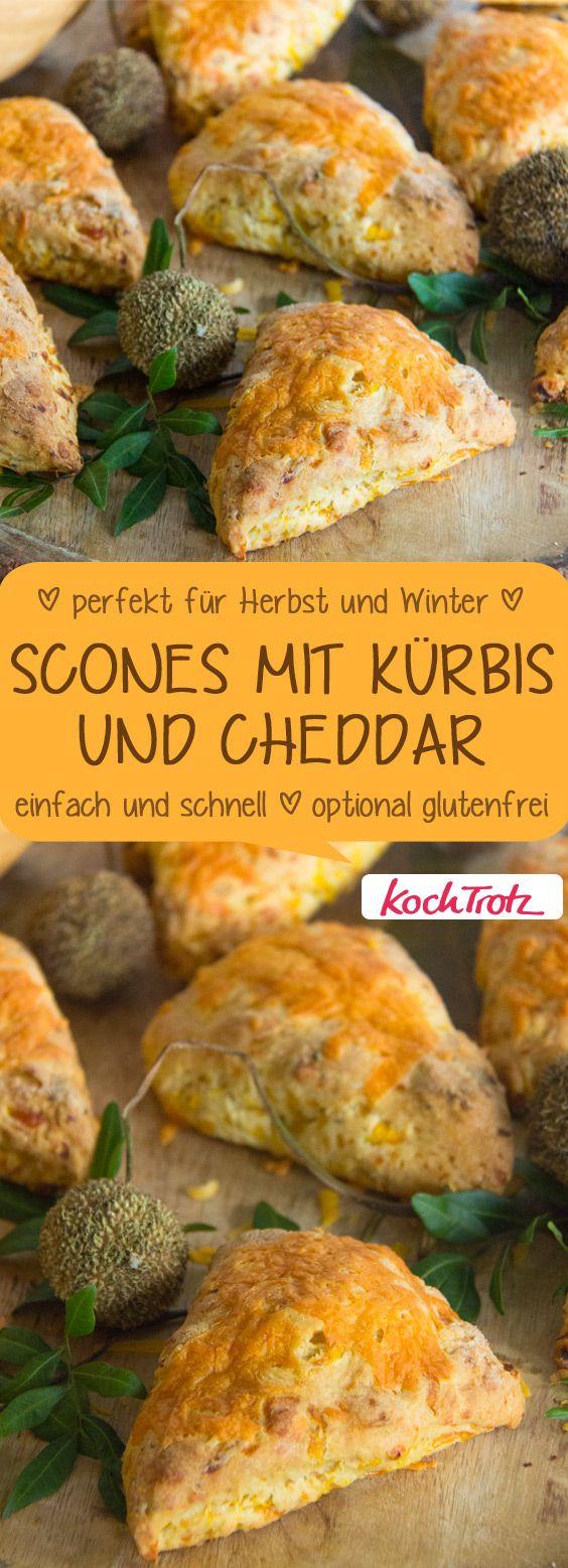 Scones mit geraspeltem Kürbis und Cheddar-Käse | perfekt für Herbst und Winter | einfach und schnell gemacht | mit glutenfreier Variante im Rezept #scones