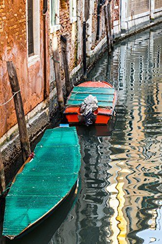 """Boats on the Canal - 8"""" x 10"""" to 30"""" x 40"""" ready to hang canvas print. Colorful boats on the canals of Venice."""