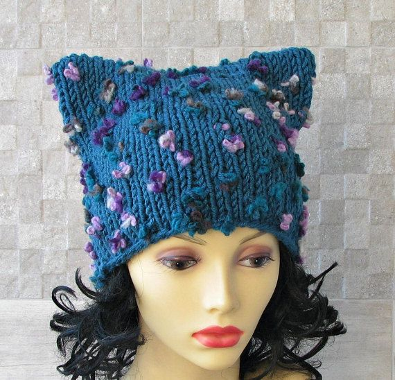 Blue Pussyhat Pussy Cat Hat Feminist Hat  Pussy by AlbadoFashion