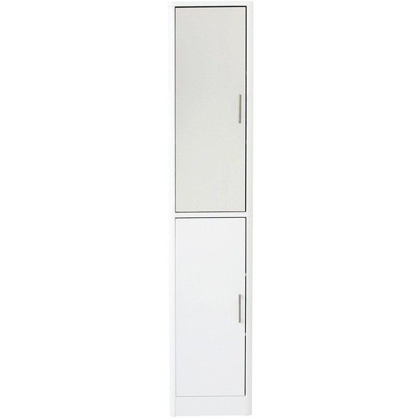 Luna 2-Door Mirrored Bathroom Tallboy ($210) ❤ liked on Polyvore featuring home, furniture, storage & shelves, 2 tier shelf, space saving furniture, door shelf, door shelves and door furniture