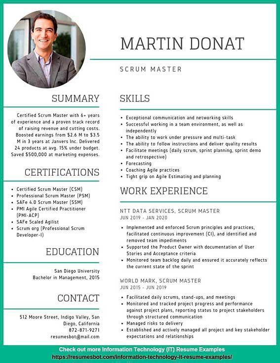 Scrum Master Resume Samples Templates Pdf Doc 2021 Scrum Master Resumes Bot Professional Resume Examples Scrum Master Resume Examples