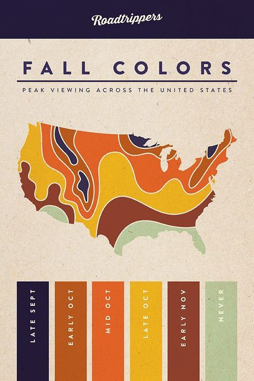 This map shows the best time of year to see colorful foliage across the US.