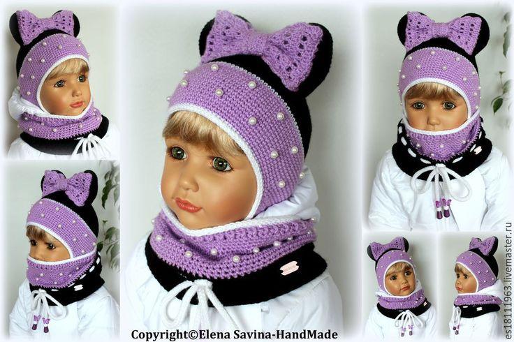 """Купить """"Минни"""" -шапочка+снуд (черно/бело/сиреневые)-для Венеры - сиреневый, шапочка, шапочка для девочки, вязаная шапочка"""