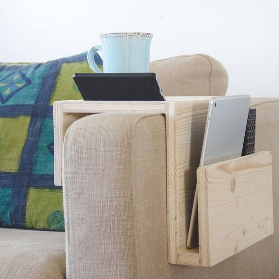 Ipad Tablet Smartphone Stand Holder Couch Table Sofa Wooden Side Table Gift For Him Boyfriend Dad Small End Tabl Couch Arm Table Couch Table Arm Rest Table