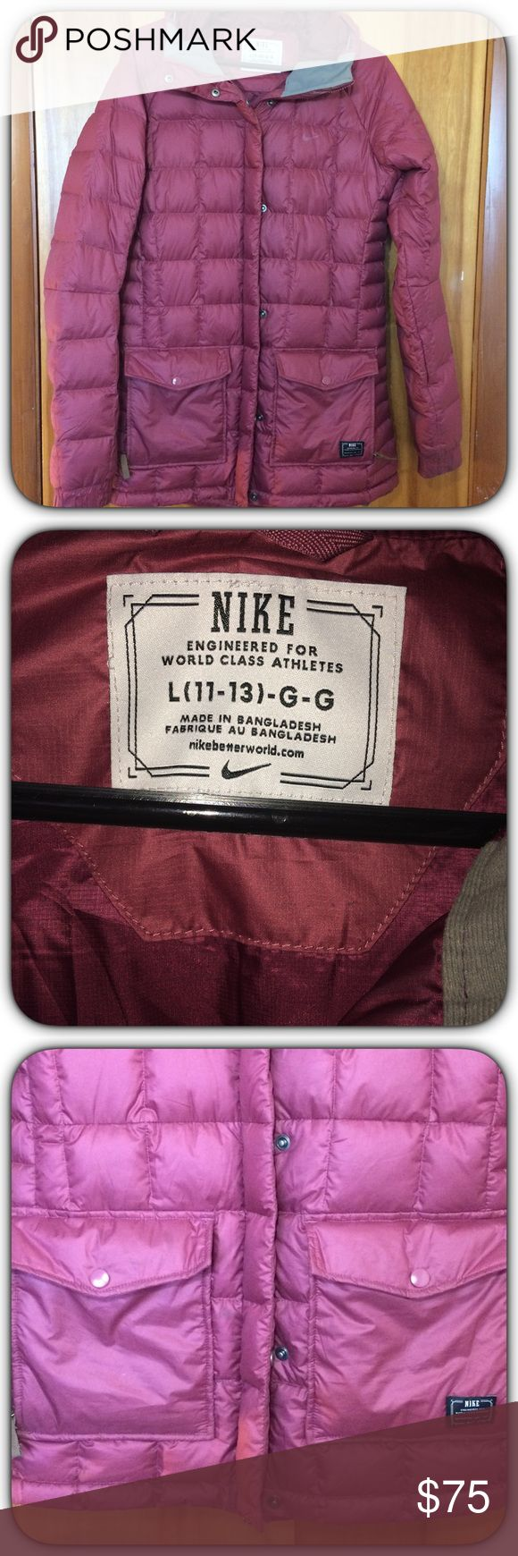 Nike Winter Jacket NWOT! Nike Winter Jacket. Never Worn W/Out Tags! Excellent Condition!!! Size Large! Mauve/Burgundy Color! Heavyweight! Equipped W/ Hood!!! Nike Jackets & Coats