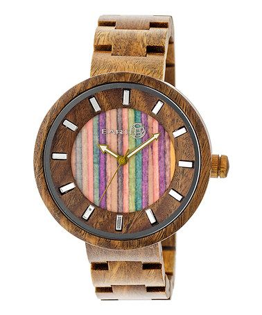 Another great find on #zulily! Olive & Multicolor Root Wood Bracelet Watch #zulilyfinds