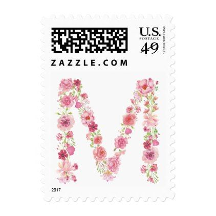M Initial Floral Monogram Postage Stamp - monogram gifts unique design style monogrammed diy cyo customize