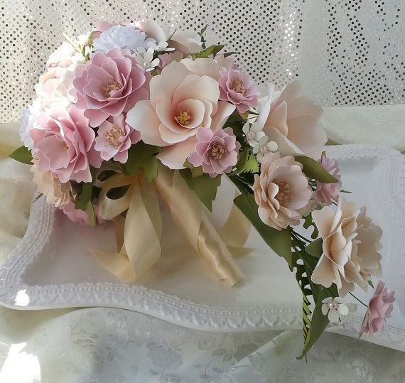 Paper Bouquet - Cascading Bouquet - Paper Flower Bouquet - Wedding Bouquet - Ivory and Blush Pink - Custom Made - Any Color