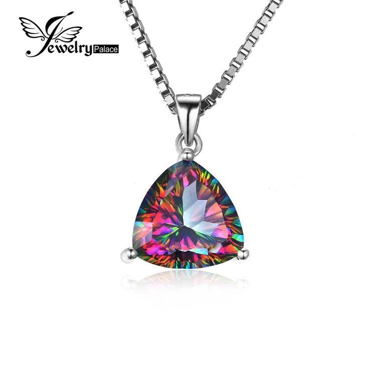 JewelryPalace TRIANGLE 5.7ct Genuine Rainbow Fire Mystic Topaz Necklaces Pendant 925 Sterling Silver 45cm Box Chain For Women