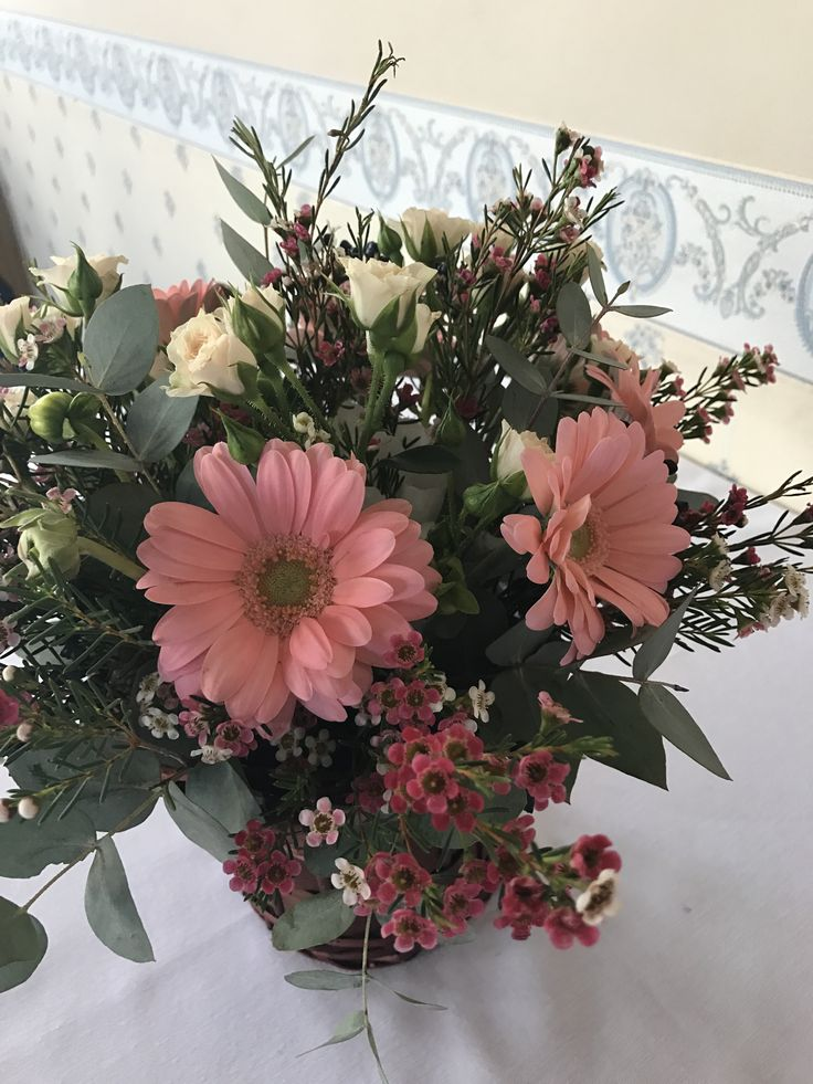 pastel pink flowers basket; baby girl party centerpiece by Atelier Floristic Aleksandra