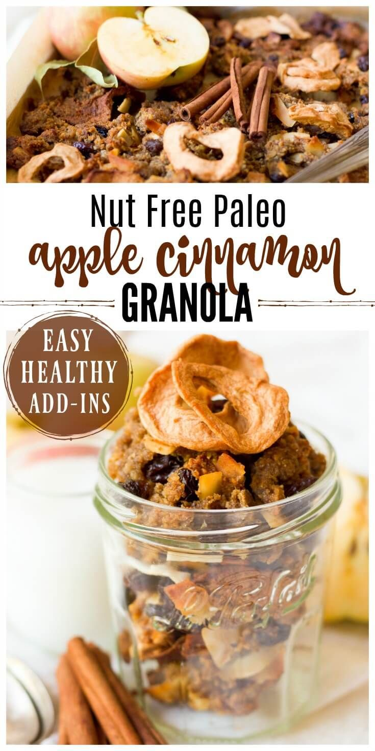 (ad) This healthy Nut Free Paleo Apple Cinnamon Granola is packed with wholesome, real food ingredients, lots of textures and delicious seasonal flavors. It's chock-full of chunky pieces and perfect for snacking, topping on yogurt or smoothie bowls, or enjoying as cereal. | Recipes to Nourish // Primal | Gluten Free | Grain Free | Lunchbox Ideas | Allergy-Friendly via @recipes2nourish
