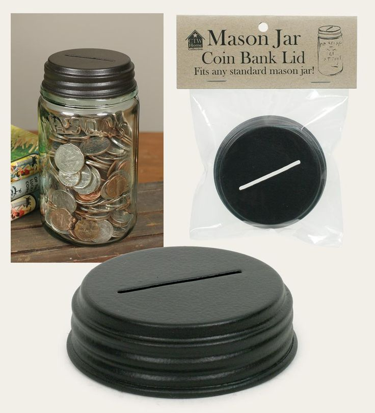 Coin bank mason jar lid coins jars and mason jar lids for Mason jar piggy bank