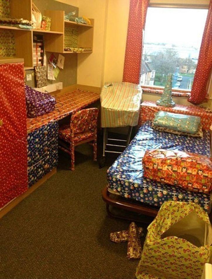 Gift wrap the room  fun pranks  Pinterest  Pranks, Dorm  ~ 231107_Dorm Room Prank Ideas