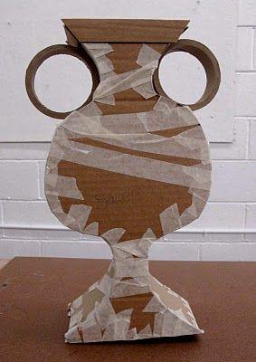 Halloween. Egyptian urn made from cardboard & tape.