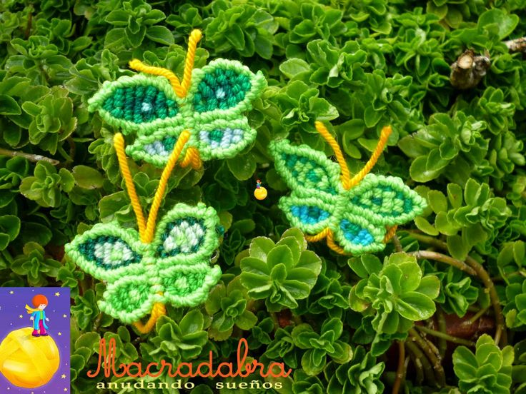 Trios de Mariposas  Verdes #Macrame