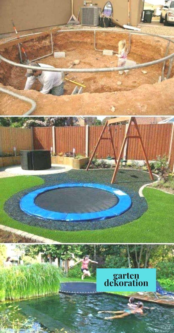 Versunkenes Trampolin Ist Sicherer Fur Kinder Und Sieht Auch Ziemlich Cool Aus Sunken Tram Kinder Siche Backyard Backyard Playground Backyard For Kids