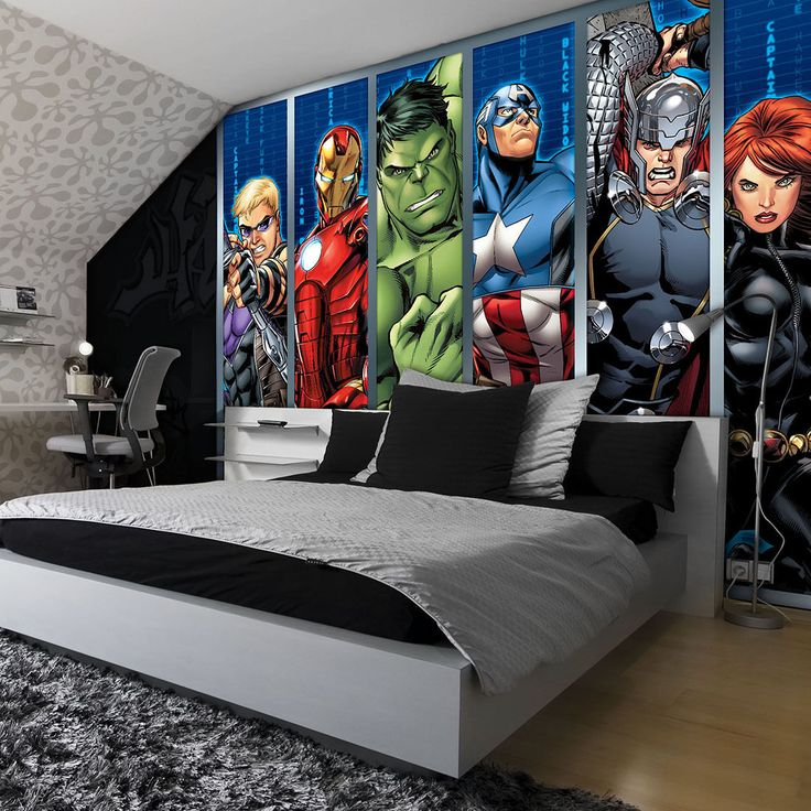 details about disney avengers boys bedroom photo wallpaper wall mural room decor 964veve - Boy Bedroom Theme